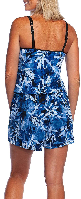 65bf6b1ffa79 Maxine Womens in The Navy Leaf Print Swim Romper at Amazon Women s Clothing  store