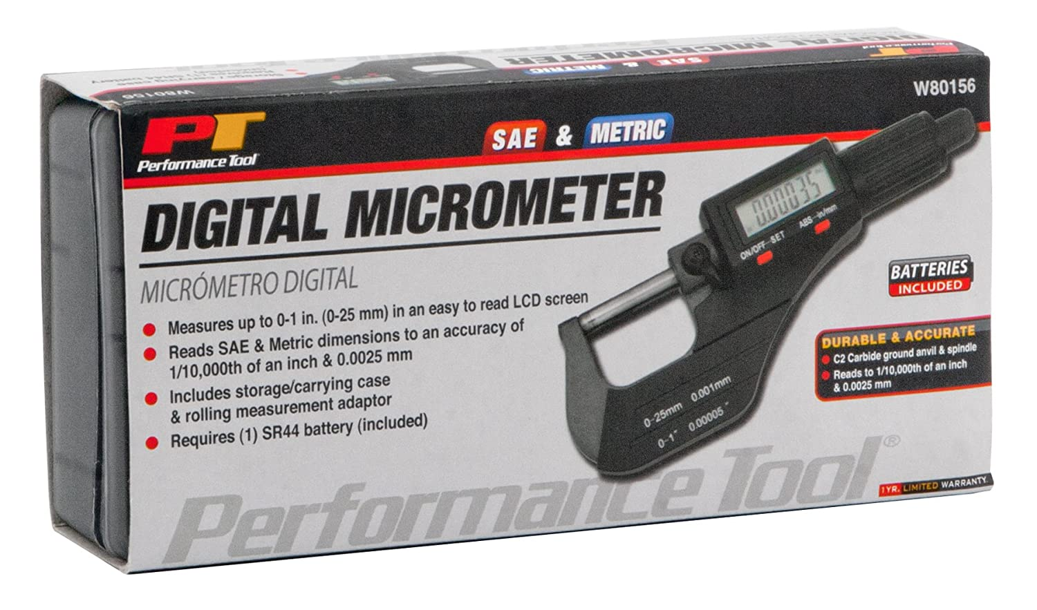 0-4 Inches Performance Tool W80157 Electronic Digital Caliper with Extra Large LCD Screen Inch//Millimeter Conversion