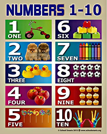 Amazon.com : Numbers 1-10 Chart by School Smarts for Babies and ...