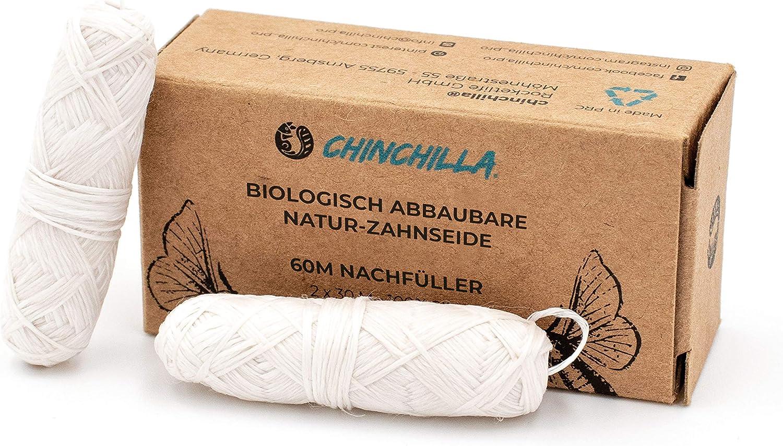 Chinchilla® 2x 30 metros para rellenar - Hilo dental natural sin plástico, ecológico y compostable - Hilo dental 60m en bolsa de almidón de maíz