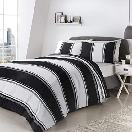 398e7f216b2f Fusion Betley-Duvet Cover Set, Easy Care Black & White, Double:  Amazon.co.uk: Kitchen & Home