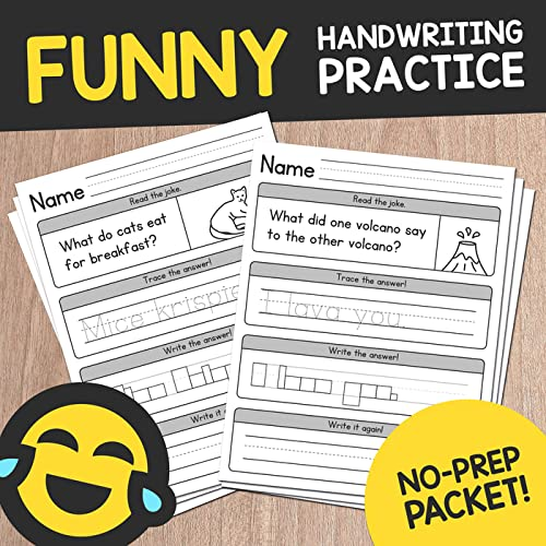 We Know That Practicing Handwriting Skills Can Be Daunting, So We've Spiced  This One Up With Some Jokes! Plus There's No Prep Required. No Laminating,  Assembly, Or Using Expensive Colored Inks. Just Print In Black And White,  And You're All Set. Our Funny