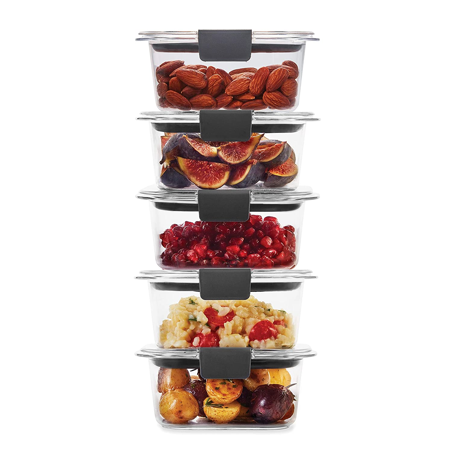 Rubbermaid 2108398 Leak-Proof Brilliance Food Storage Set | 1.3 Cup Plastic Containers with Lids | Microwave and Dishwasher Safe, 5-Pack, Clear