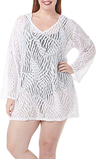 7a23174d96b1a Image Unavailable. Image not available for. Color  Dotti Womens Plus Lace  Hooded Dress Swim Cover-Up White 2X