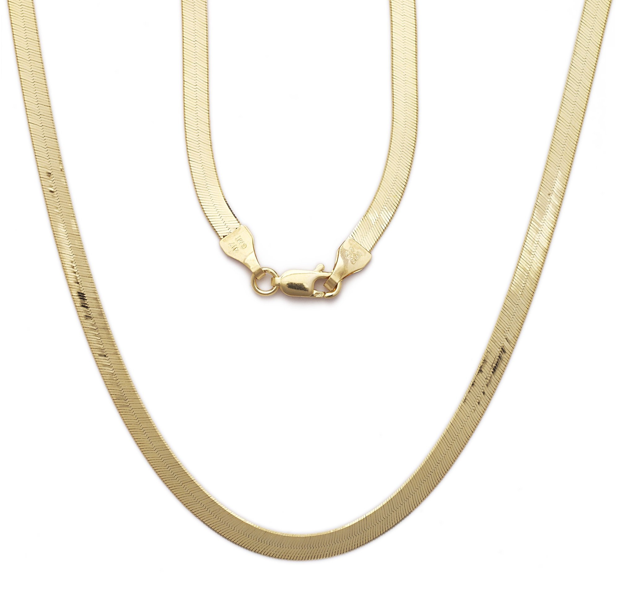 "Floreo 22 Inch 10k Yellow Gold Super Flexible Silky Herringbone Chain Necklace, 0.2"" (5mm)"
