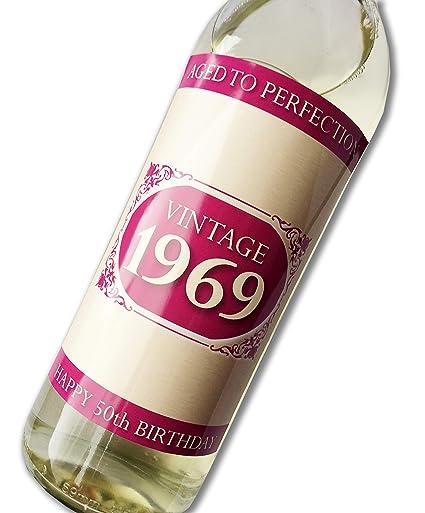 Purpleproducts 1969 Vintage Rose Joyeux Anniversaire 50 Ans 2019 étiquette De Bouteille De Vin Cadeau Pour Homme Et Femme
