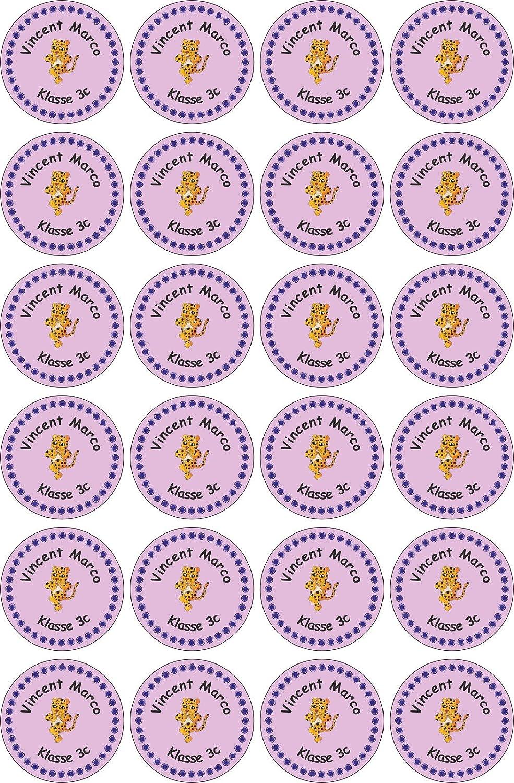 JINTORA Nome adesivo / Etichette adesive personalizzate per quaderni, libri e materiale scolastico - 30x30mm - 001 - Principessa bambini - 24 pezzi per bambini, scuola e scuola materna - stampa individuale
