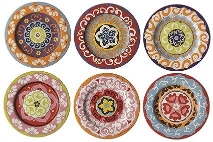 Nador Set of 6 Salad Plates Mixed Colours Mediterranean Style !  sc 1 st  Amazon.com & Amazon.com: Nador Set of 6 Salad Plates Mixed Colours Mediterranean ...