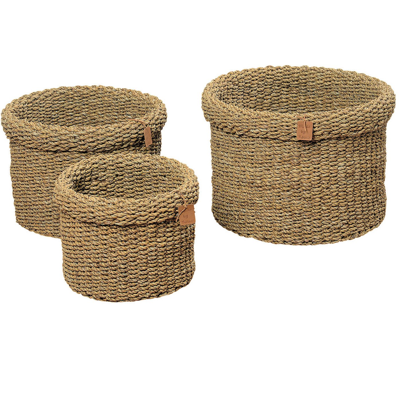 The Made by Nature Roll-top Round Chunky Weave Seagrass Baskets, Set of 3, Various Sizes approx. 17, 13 3/4, And 11 Inch in Diameter, By Whole House Worlds by Whole House Worlds