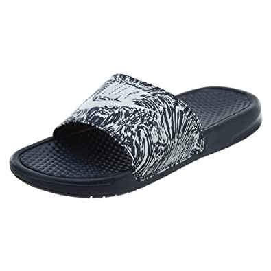 ea45b7f3195a7c Nike  631261-403  Benassi JDI Print Mens Obsidian Pure Platinum Sandals (