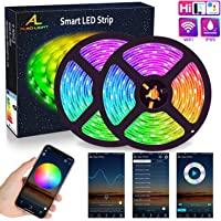 WIFI LED Strip 10M (2x5M), ALED LIGHT RGB LED Strips Lights 5050 SMD 300 (2x150), 16 Million Colors, Sync with Music, IP65 Waterproof, Smart Phone APP Controlled LED Band, Work with Alexa, Google Home