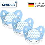 Dentistar® Schnuller 3er Set Nuckel Silikon in Größe 1, 0-6 Monate - zahnfreundlich & kiefergerecht - Beruhigungssauger für Babys   Sterne