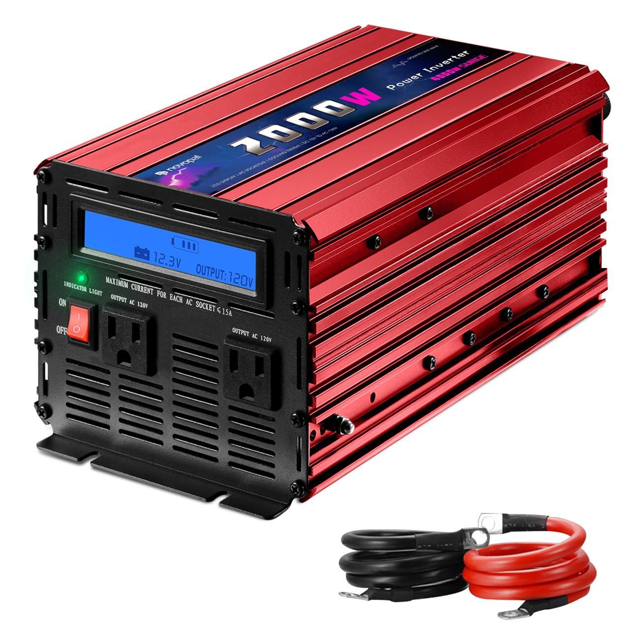 Novopal 2000W Power Inverter Modified Sine Wave DC 12v to AC 120v with Big LCD Display (Peak 4000W,Red Color)