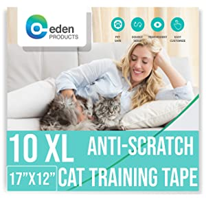 EdenProducts Premium Clear Anti-Scratch Cat Double Sided Deterrent Training Tape - (Pre Cut) for Any Furniture & Need - Protect Your Home Fully & Easily. 10 XL Sheets of 17 x 12 Inches - Residue Free