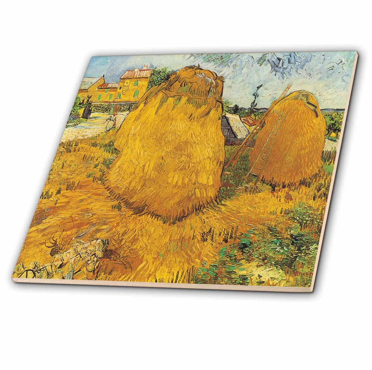 3dRose ct_128135_1 Haystacks in Provence by Vincent Van Gogh Ceramic Tile, 4-Inch