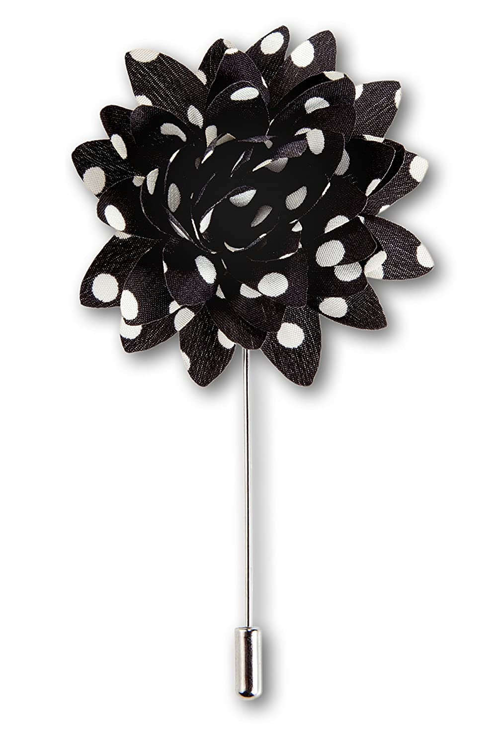 7dddfb54693d Amazon.com: Men's Lapel Flower Handmade Boutonniere Pin for Suit - Polka Dot  Mums (Black): Clothing