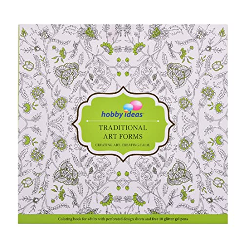 Hobby Ideas Traditional Art Colouring Book For Adults With Set Of 10 Glitter Gel Pens