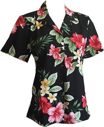 Made in Hawaii ! Women's Hibiscus Floral Hawaiian Aloha Camp Shirt