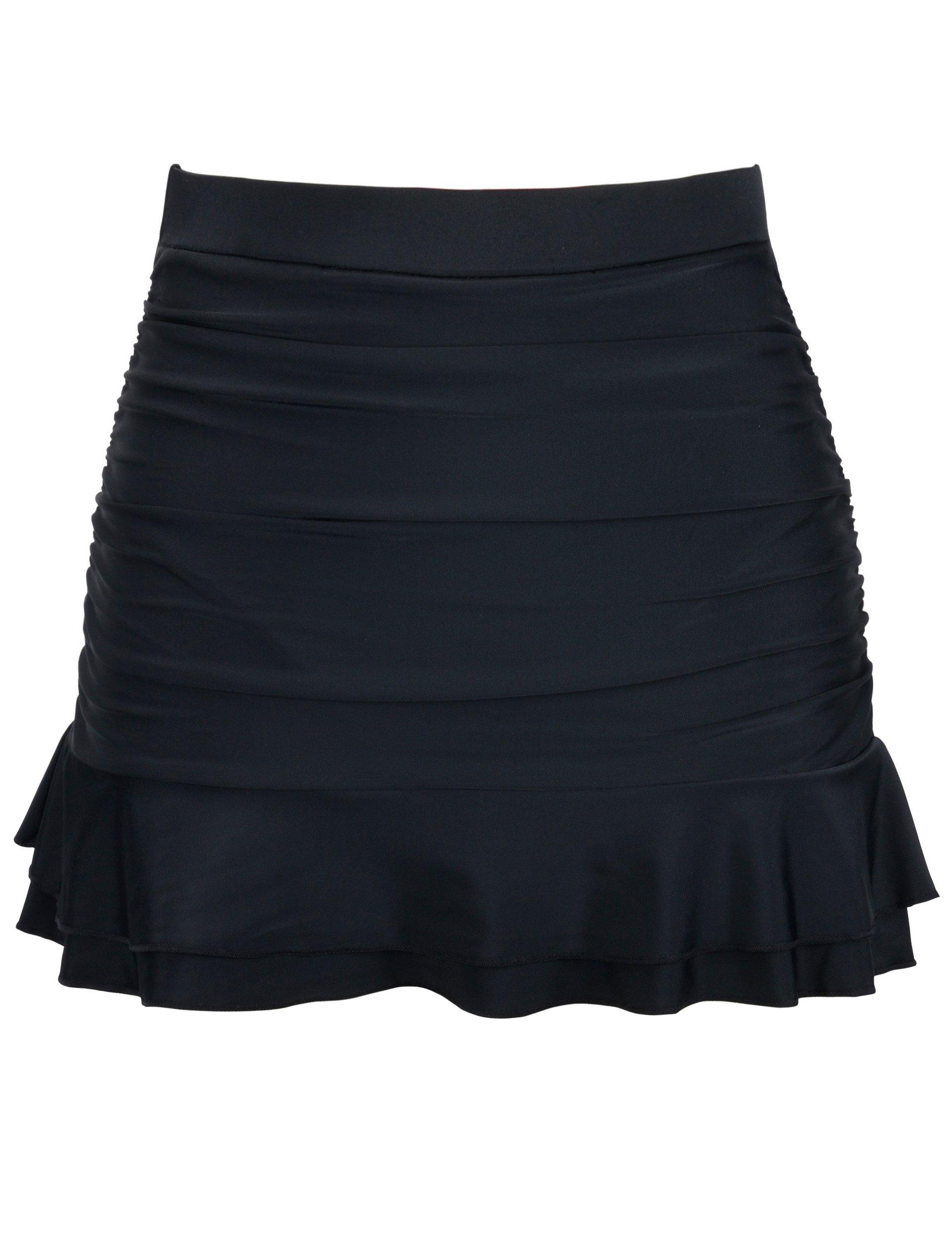 Firpearl Women's Ruched Swimsuit Bikini Tankini Bottom Ruffle Swim Skirt US8 Black