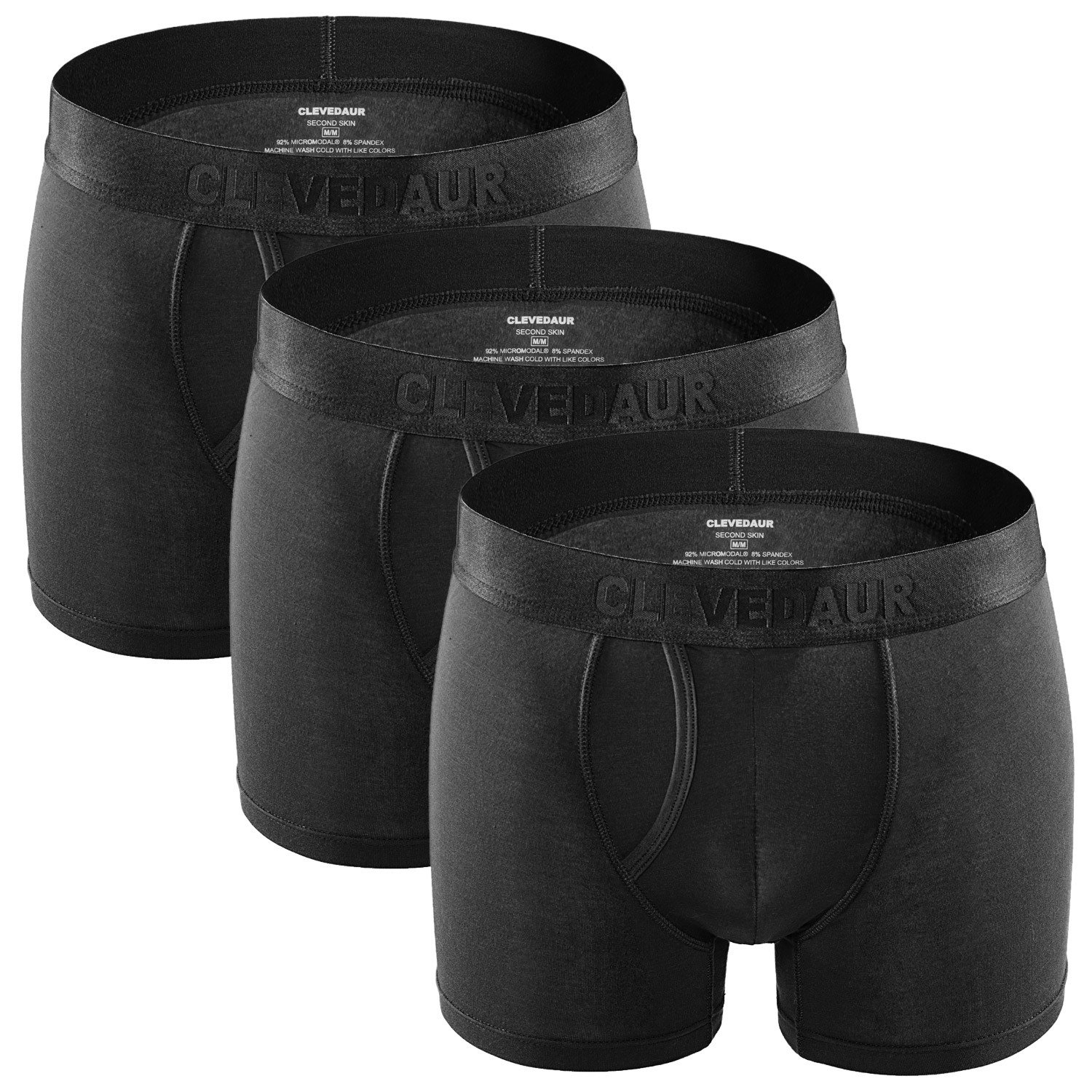 CLEVEDAUR Men's Underwear 3 Pack Lenzing Modal Trunks Underwear for Men with Fly, Black/Black/Black, XL by CLEVEDAUR