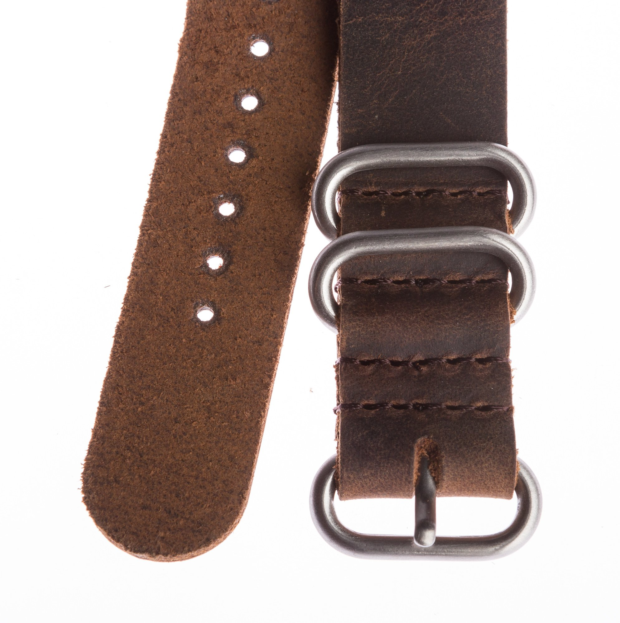 OhFlash 20mm [Rough Vintage Esspresso Leather] Zulu Leather G10 Nato Militaty Watch Strap Band
