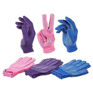 6 Pairs Women's Polyester Work Gloves - Knit Gloves - Garden Gloves, Purple, Pink, Blue