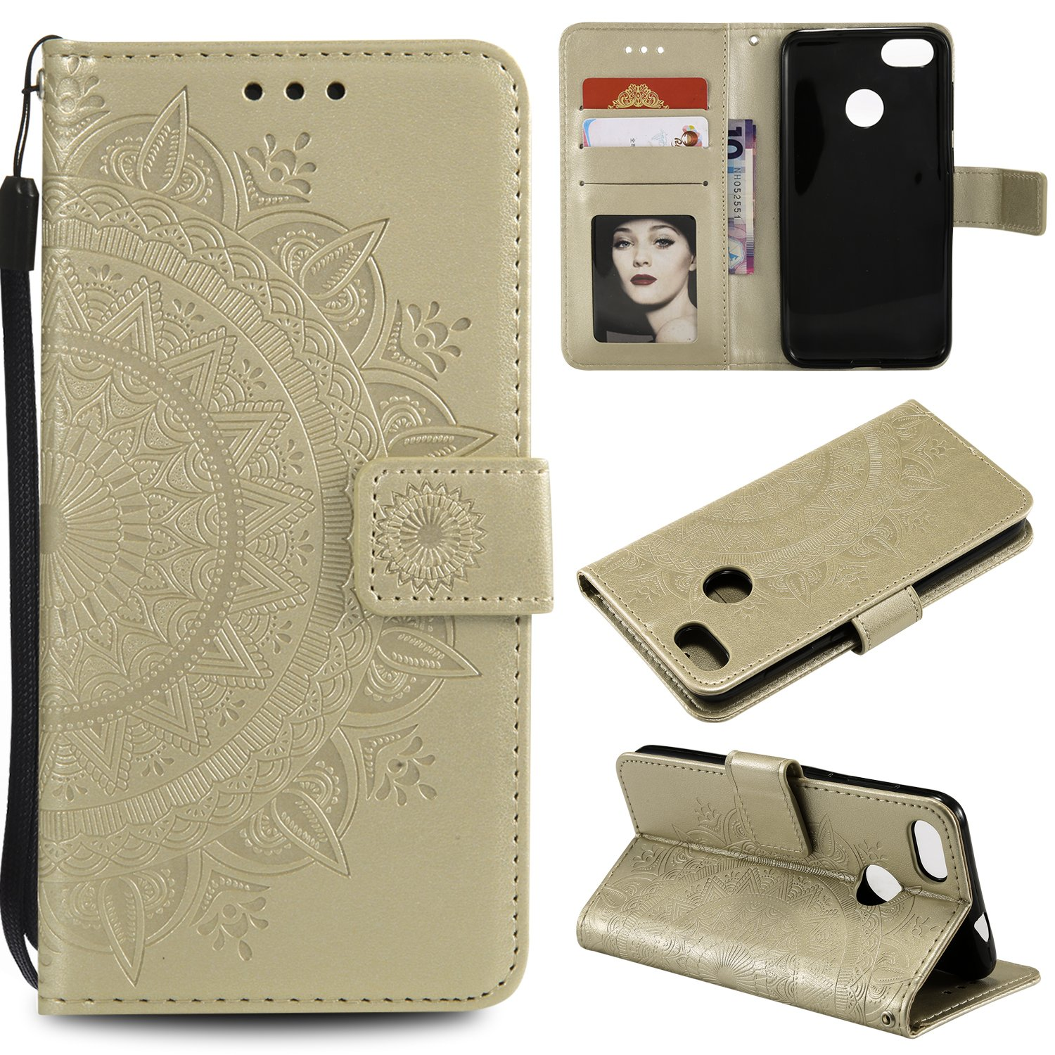 Floral Wallet Case for Huawei P9 Lite Mini,Strap Flip Case for Huawei P9 Lite Mini,Leecase Embossed Totem Flower Design Pu Leather Bookstyle Stand Flip Case for Huawei P9 Lite Mini-Gold