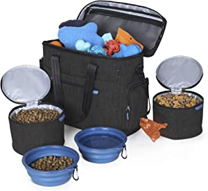 Lucky Tail Dog Travel Bag for Supplies - Set Includes Pet Travel Bag Organizer for Accessories, 2 Collapsible Dog Bowls, 2 Travel Dog Food Container - Ideal Dog Travel Kit for a Weekend Away