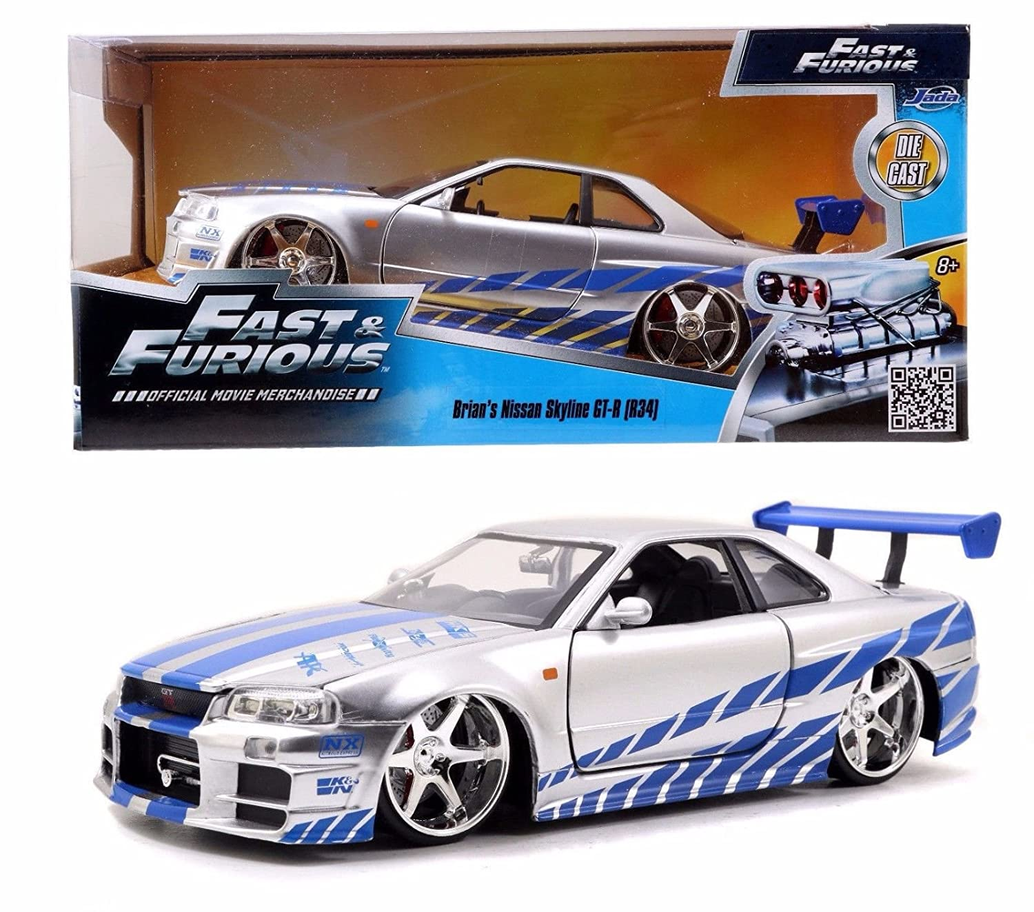 nissan skyline fast and furious 7. amazoncom new 124 fast u0026 furious brianu0027s 2002 nissan skyline gtr r34 diecast model car by jada toys games and 7 u