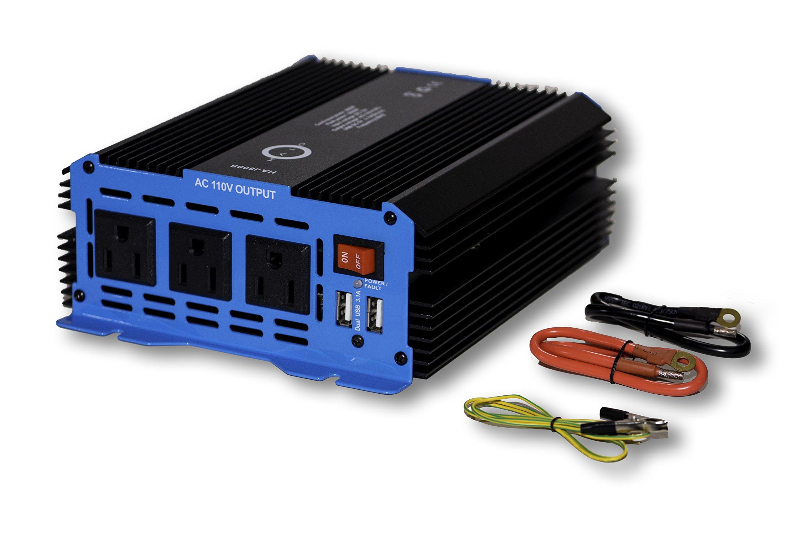 Halo Automotive 800 Watt Power Inverter 12V DC to 110V AC 3 Outlets and 2 USB Ports