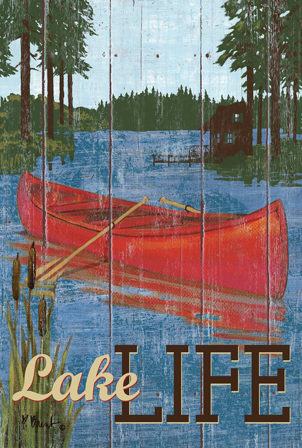 Toland Home Garden Rustic Lake Life 12.5 x 18 Inch Decorative Outdoors Canoe Garden Flag