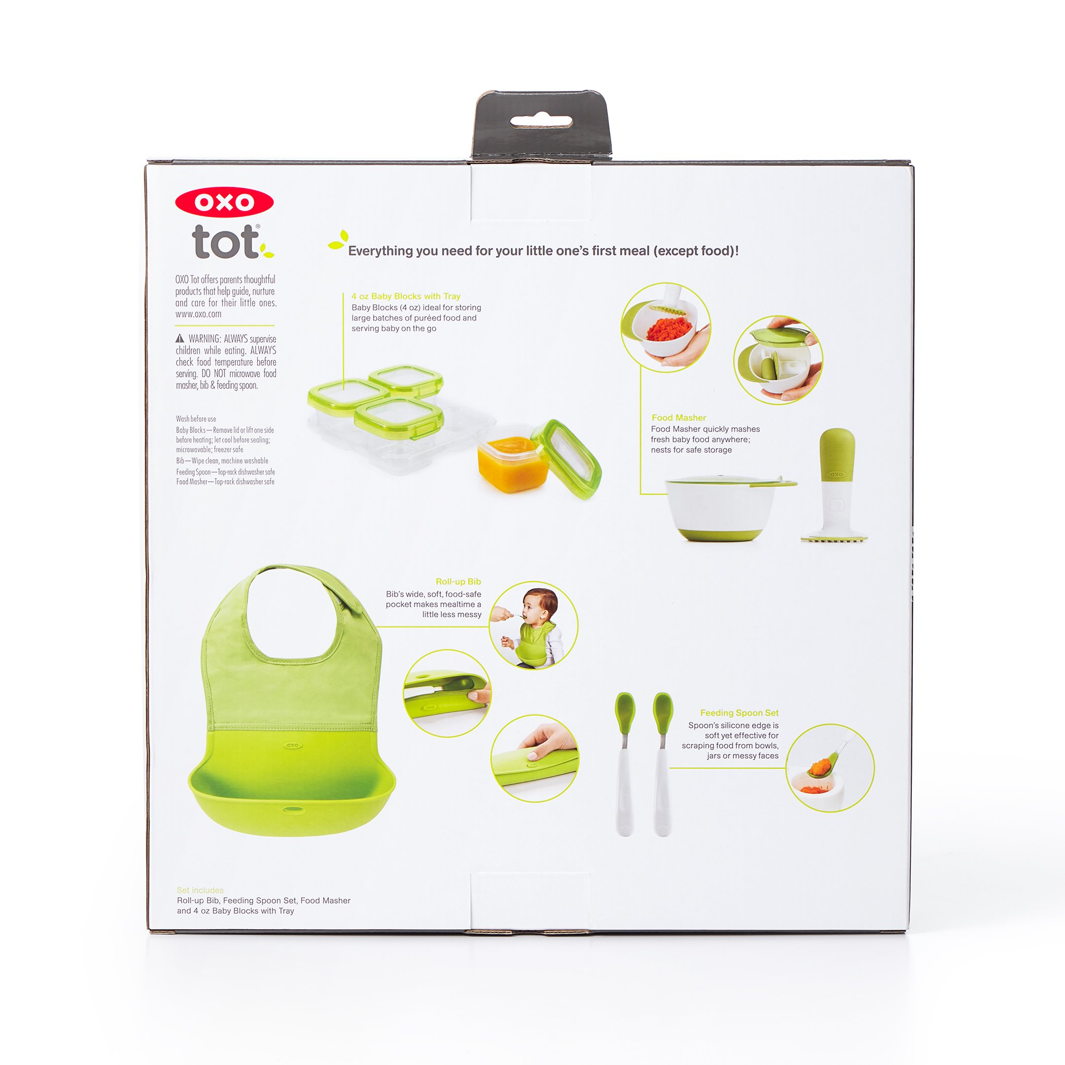 OXO Tot Mealtime Starter Value Set with Roll-up Bib, Feeding Spoons, Food Masher and Four 4oz Baby Blocks Freezer Storage Containers by OXO Tot (Image #18)