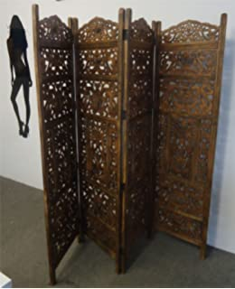 4 Panel Heavy Duty Heavy Duty Indian Screen Wooden Leaves Design Screen  Room Divider[Light