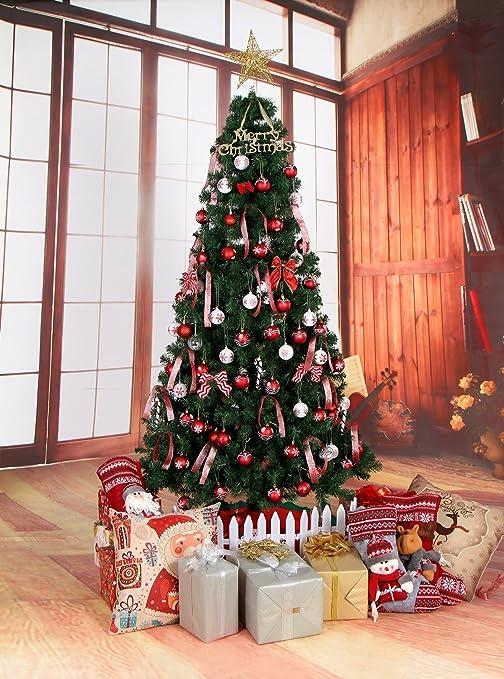 Lnkey 24 Bolas de Navidad blanco y rojo, Inastillable decoración exquisita boda Fiesta Navidad bolas adornos árbol(24 / Pack,Rojo y blanco, ...
