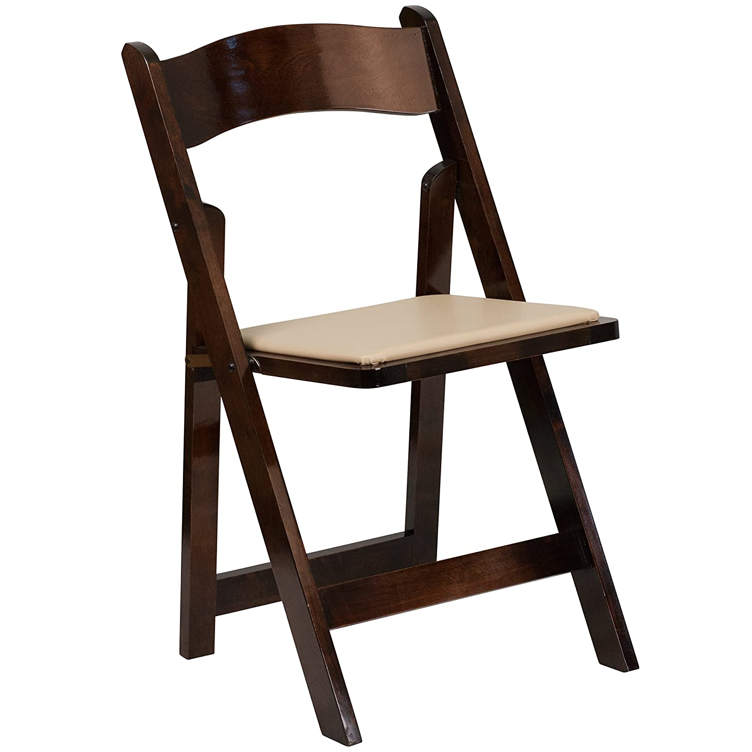 Amazon HERCULES Series Black Wood Folding Chair Padded