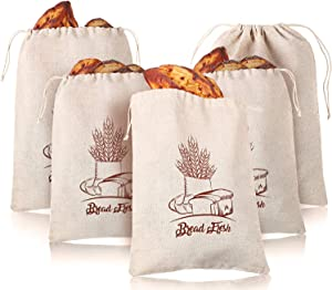 5 Pack Linen Bread Bags Natural Produce Bags Reusable Drawstring Bags for Homemade Bread Food Storage Large Loaf and Baguette, 12 x 16 Inch