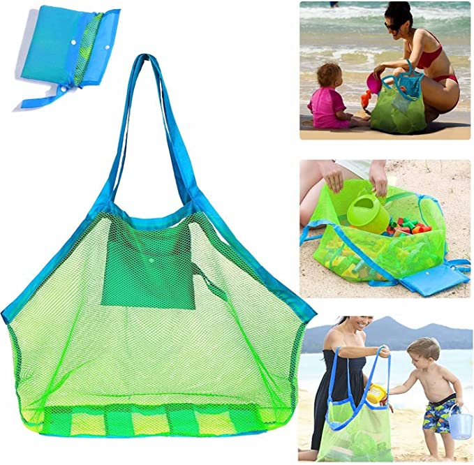 Picnic and ect Lightweight /& Foldable,MAX Capacity for Outdoor Sports,Beach BUBM Large Mesh Beach Bags and Totes Heavy Duty