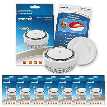 7X Nemaxx Detector de Humo M1-Mini sensibilidad ftoeléctrica - con batería de Litio Tipo