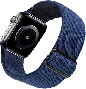 Arae Stretchy Nylon Watch Band Compatible with Apple Watch Band 40mm 38mm Adjustable Elastic Sport Band for iWatch Series 6 5 4 SE 3 2 1 Women Men - Blue, 38/40mm