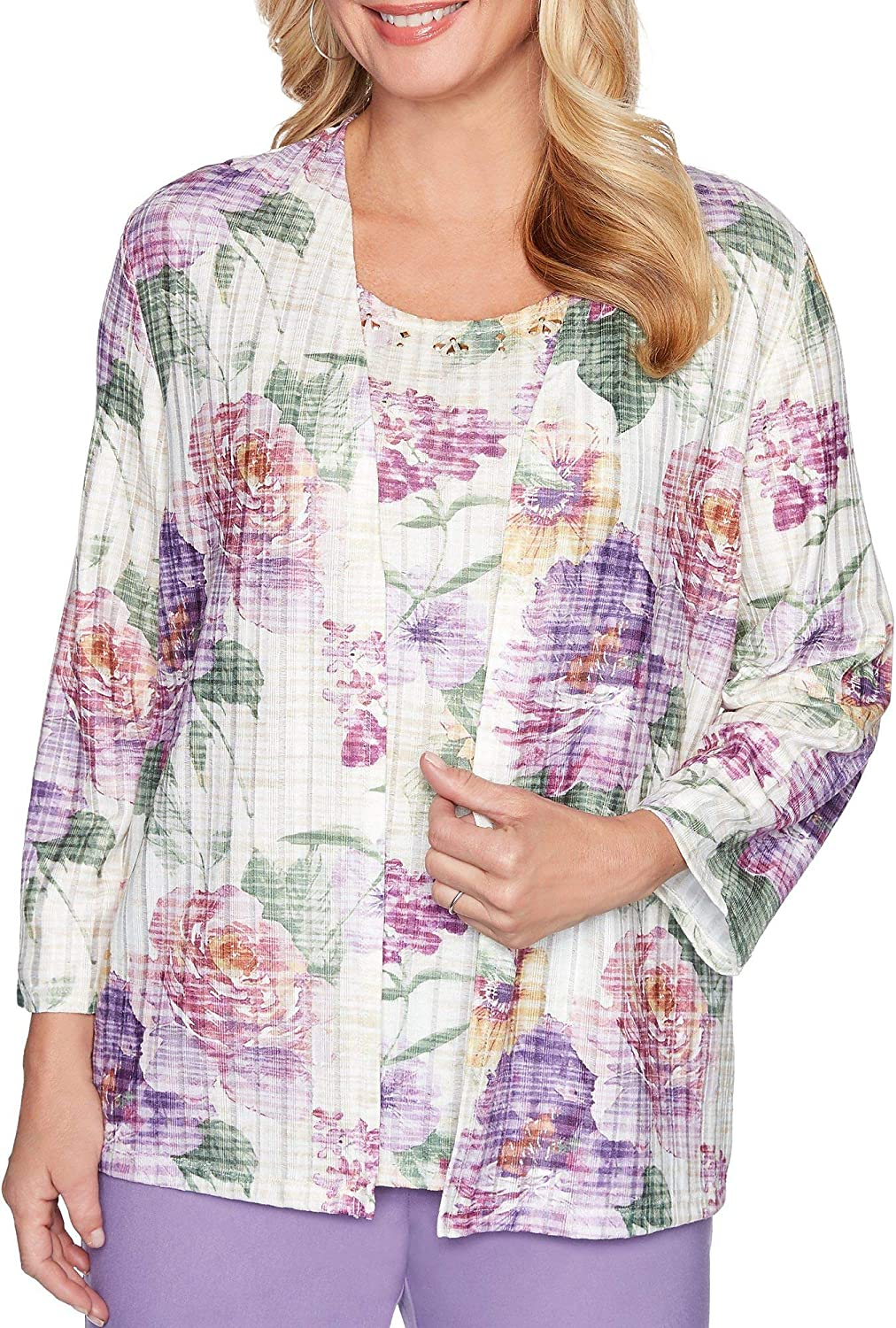 Alfred Dunner Womens Garden Party Floral 2Fer 3//4 Sleeve Woven Top