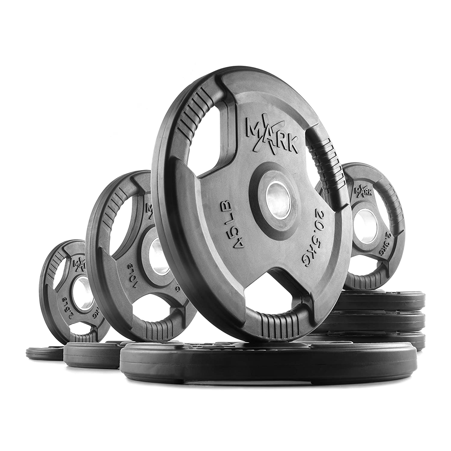 XMark Premium Quality Rubber Coated Tri-grip Olympic Plate Weights 135 lb. Set: Amazon.co.uk: Sports & Outdoors