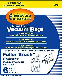 Fuller Brush Canister Vacuum Bags FB-SSCAN FB-PTCAN (6 Pack)
