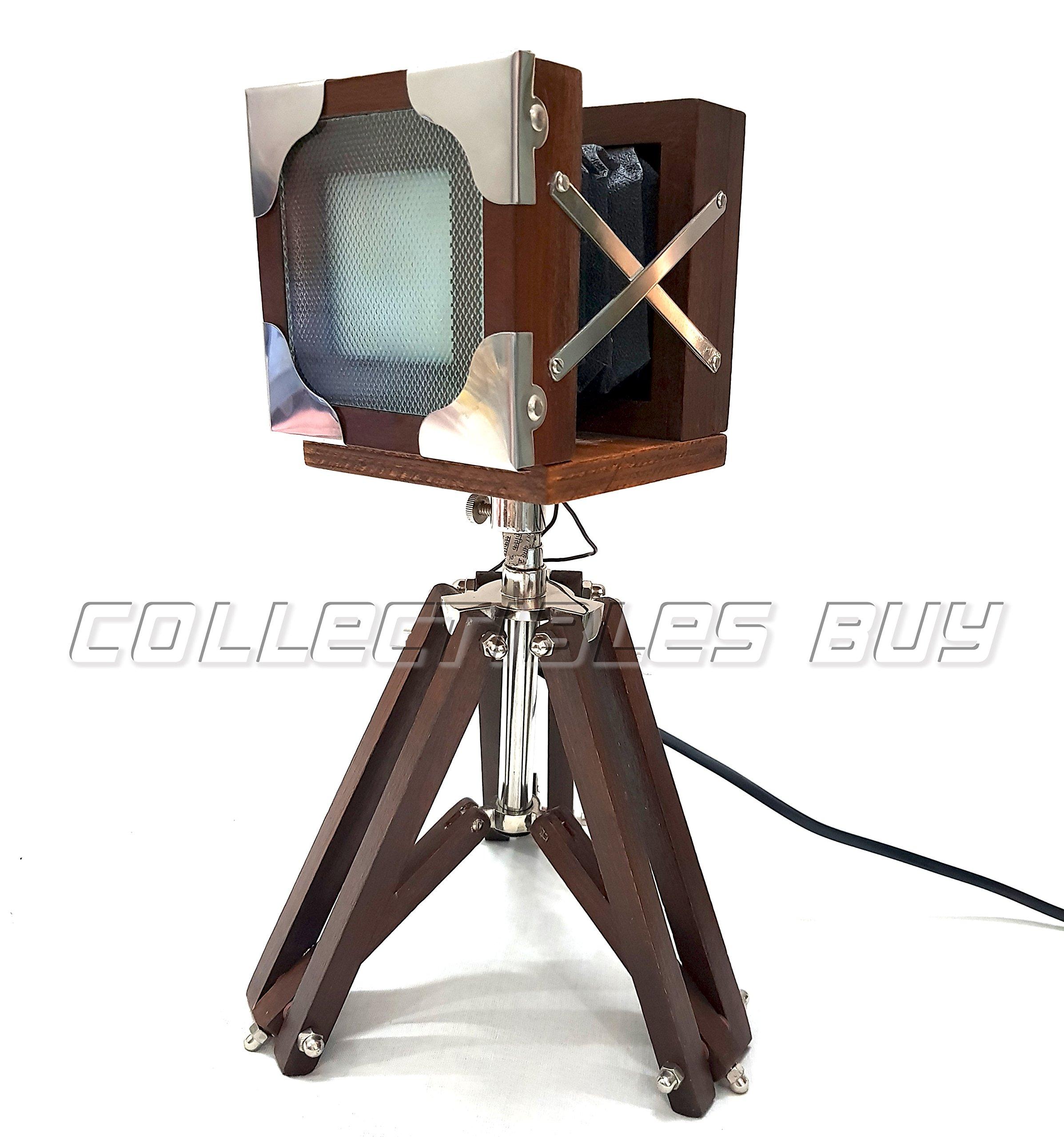 Collectibles Buy Antique Vintage Tripod Camera LED Desk Lamp Functional LED Panel 12 Watt Home & Office Desktop Lighting Decor Retro Design Movie Folding Camera Look Cooperate & Business Gift