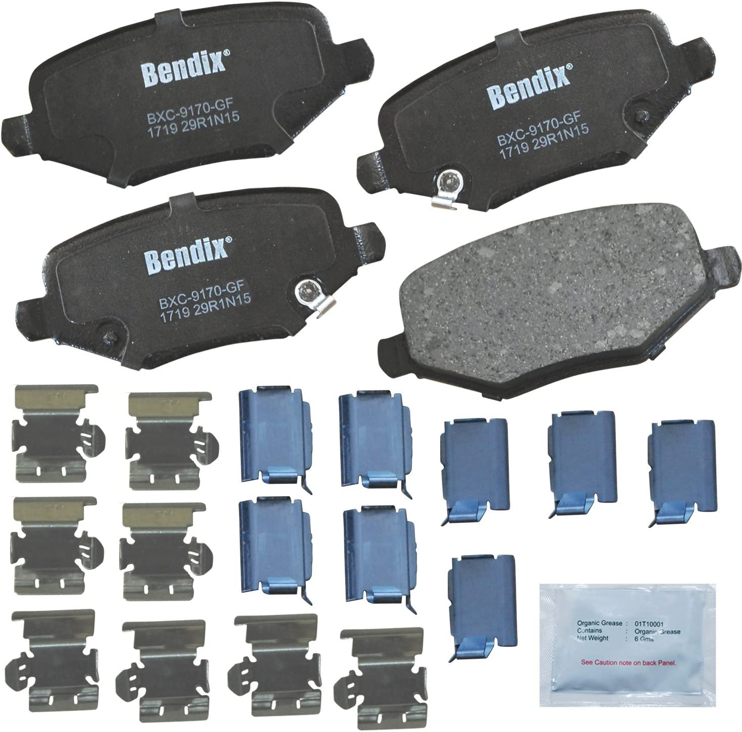 with Installation Hardware Front Bendix CFC1720 Premium Copper Free Ceramic Brake Pad