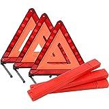 YaeKoo Triple Warning Triangle in Storage Case Foldable Emergency Warning Triangle Reflector Safety Triangle Kit, Foldable Re
