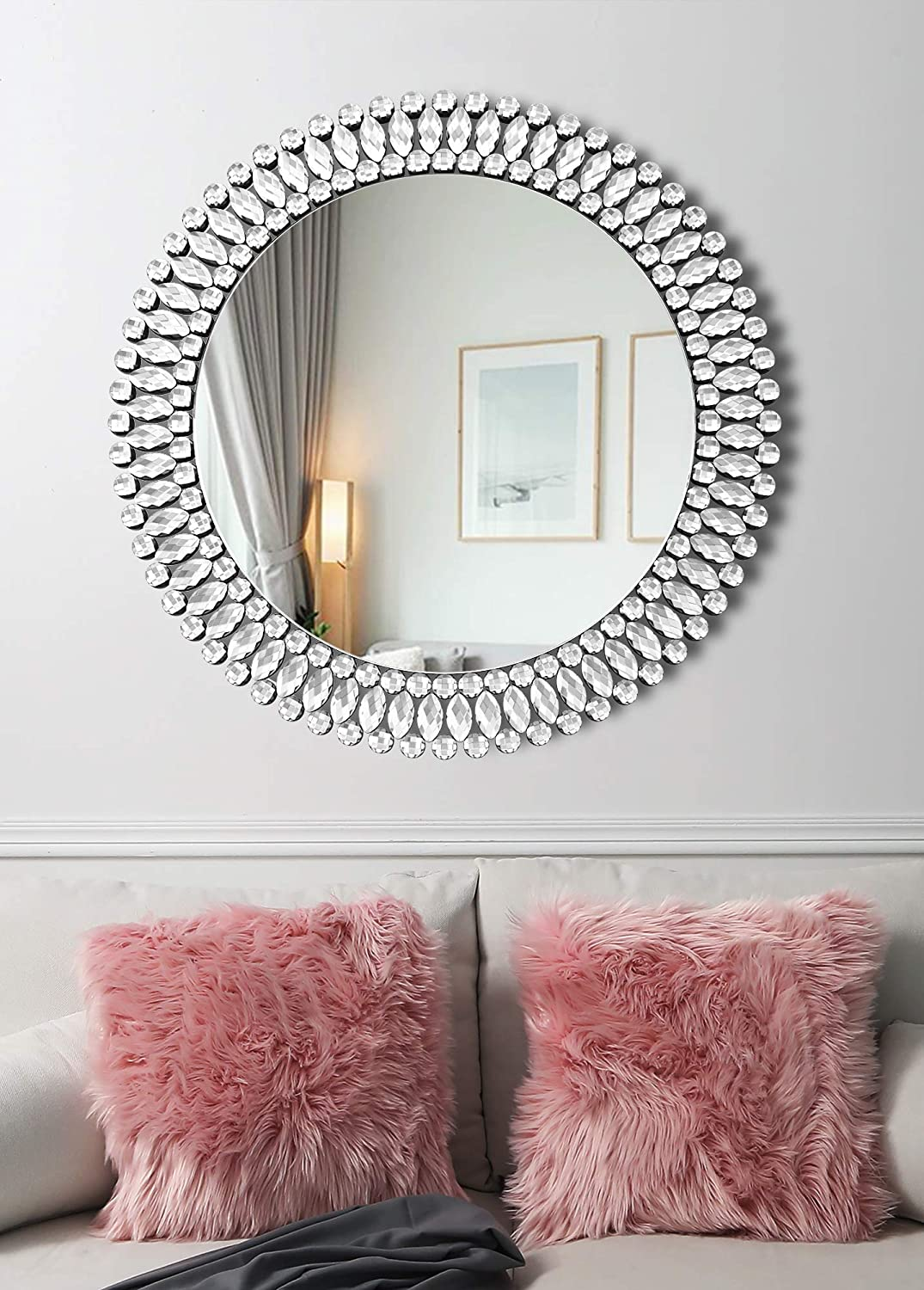 Elegant Circle Decor Wall Mirror - 31.5'' x 31.5'' Crystal Decor Mirror for Bedroom Entrance Living Room Dining Room Hallway