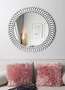Elegant Circle Decor Wall Mirror - 31.5'' x 31.5'' Crystal Decor Mirror for Bedroom Entrance Living Room Dining Room Hallway