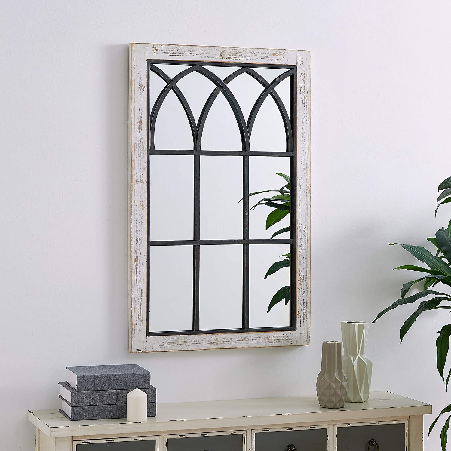 Amazon Com Firstime Co Vista Arched Window Accent Wall Mirror 37 5 X 24 Distressed White Furniture Decor
