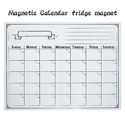 Calendario En Blanco.Calendario Magnetico De Borrado En Seco Color Blanco Magnetico