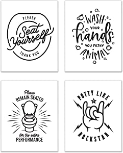 Bathroom Wall Art Decor - Set of 4 (8 inches x 10 inches) - Funny Poster Prints
